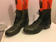 Cuero Genuino Tobillo Marrón Topo Talla 6.5 Mujer señoras militares Botas Zapatos Plano (CC