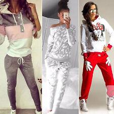 2 pz Donna Felpe Con Cappuccio Abbigliamento Sportivo top&pant tuta jogging