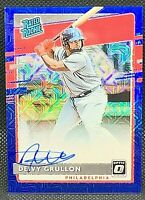 Deivy Grullon 2020 Donruss Optic Rated Rookie Blue Prizm Auto Refractor #/99 RC