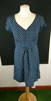 Mantaray Size 10 Blue Floral Print V Neck Tea Dress Knee Length