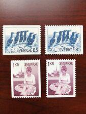 Sweden 1976 Scott #1153-1156 Birds Murre & Bobbin Lace Making Mint NH