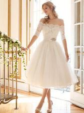 Short Vintage Bride Wedding Dresses Off Shoulder Lace Half Sleeve Bridal Gowns