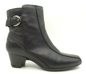 Clarks Artisan Black Leather Zip Up Buckle Block Heel Ankle Boots Women's 8 M