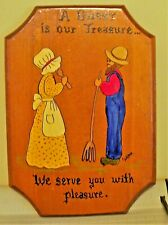 """Hand Painted Early American Wall Decor Wood Plaques """"Signed"""" Kitchen"""
