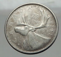 1957 CANADA United Kingdom Queen Elizabeth II Silver 25 Cent Coin CARIBOU i62967