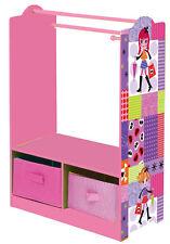 Girls Pink Clothes Rack Wardrobe Organiser & Storage Boxes Toddlers Furniture