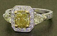 GIA heavy 18K WG 5.46CTW Fancy color Cushion diamond wedding ring w/ 2.02CT ctr.