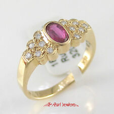18k Solid Yellow Gold Genuine Diamonds, Natural Red Oval Ruby Solitaire Ring TPJ