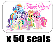 """50 My Little Pony All Rainbow Thank You Seals / Labels / Stickers, 1"""" x 1.5"""""""