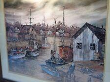 Robert Lebron Framed Glass Print Of Painting Fishing Boat Ship Harbor Maritime