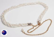 Women Lady White Pearl Party Metallic Gold Chain Braid Beads Dress Tassel Belt