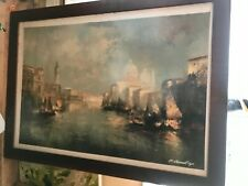 More details for original oil large painting venice and signed