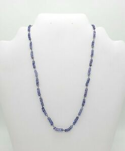 TANZANITE NATURAL BEADS NECKLACE 14 KT WHITE GOLD WITH 33.95 CARATS GREAT LOOK!!