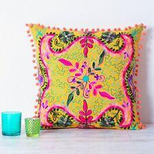 Embroidered Suzani Square Cushion - Yellow