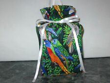 Birds Parrots Cockatoo cotton Fabric square Tissue Box Cover or gift bag (Only)