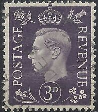"Great Britain Stamp - Scott #240/A101 3p Dark Purple ""George Vi"" Canc/Lh 1938"