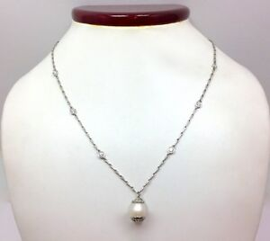 Pearl & Diamond Station Link Drop Dangle Y Chain Necklace Platinum 16 5/8 In