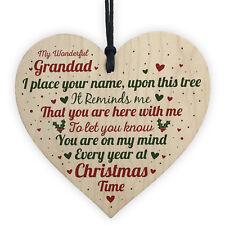 Christmas Memorial Grandad Father Handmade Wooden Heart Tree Decoration Bauble