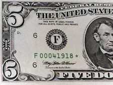 U S $5.00 STAR Note series 1995 F Choice Crisp Uncirculated lower serial number