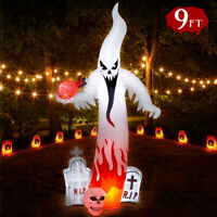9 Foot Halloween Inflatable Grave Scene Ghost Tombstone Blowup Yard Decoration