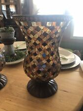 PartyLite Global Fusion Hurricane Mosaic Amber Glass Candle Holder Euc