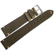 19mm Mens Fluco Hunter Brown Green German Made Leather Aviator Watch Band Strap