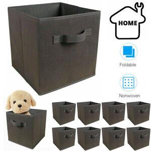 8Pcs/Set Canvas Storage Collapsible Foldable Box Fabric Cube Cloth Basket Bag UK