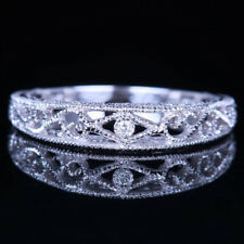 Vintage Antique Sterling Silver H/SI Diamond Ring Engraving Anniversary Band