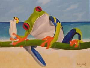 "Frog Oil painting, red eyed frog, Original, Miguel's Vacation Style 12"" x 16"""