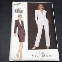 Vogue 7578 Sewing Pattern Sz 20 22 24 Jacket Skirt Pants Office Plus Size Suit