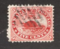 #15 - Canada - 1859 -  5 Cent beaver stamp - Used - F - superfleas