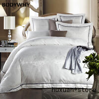 White Gold Silk Jacquard Luxury Bedding Set QUEEN KING SIZE Cotton Bed Sheet Hot