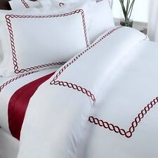 Hotel White Red Embroidered Trim Cotton 10 pc Duvet Comforter Cover Set Full