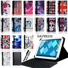 "LEATHER STAND COVER CASE + Bluetooth Keyboard For 7"" 8"" 10"" Alcatel Tablet +Pen"
