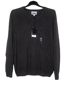 M&S Mens Jumper XL Brown 100% CASHMERE Long Sleeve V Neck Chest 50-52'' NEW £89