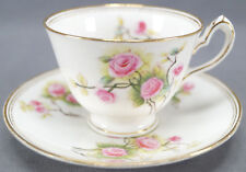 Set of 4 William Lowe Hand Colored Pink Roses & Gilt Tea Cups Circa 1874 - 91 A