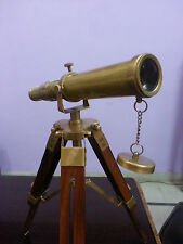 "Solid Brass Nautical Tripod Marine Navy Telescope Pirate Spyglass 10"" Decor Gift"
