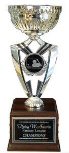 FANTASY BASEBALL TROPHY 16 YEAR PERPETUAL AWARD SILVER CUP FANTASY LOGO COOL! *