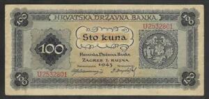 CROATIA 100 Kuna 1943 ,  series U,  VF+