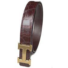 No Jointed Dark Brown Genuine Crocodile Alligator Skin Leather Belt 4.0cm Width