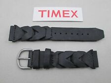 Genuine Timex Atlantis braided black water resistant leather watch band 20mm lug