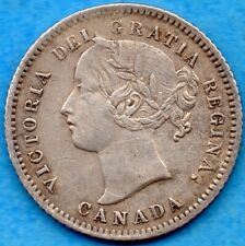 Canada 1874 H 10 Cents Ten Cent Silver Coin - Very Fine+