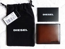 DIESEL Brown / Black Johnas 1 LEATHER Card & Notes Holder Wallet NEW