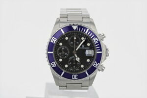 Revue Thommen Diver Chronograph Automatic Black Dial Men's Watch Stainless Steel