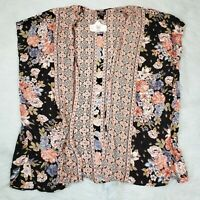 OSFM - Angie multicolor floral hippie boho sleeveless kimono cardigan flowy NWT