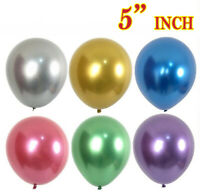 "CHROME BALLOONS METALLIC LATEX PEARL 5"" Baloon Birthday Party UK Supplier"