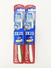 Colgate 360 Total Advanced Whitening 3x Cleaning Action Medium Bristles Lot of 2