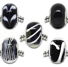 5 x Black White Glass Charms Beads Set Fit European Style Charm Bracelets st90