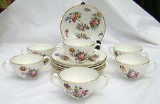 "Coalport ""SEVRES GROUP"" 6 White DAINTY Floral SOUP BOWLS with 6 UNDER PLATES"