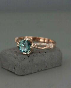 2Ct Round Cut Green Emerald Solitaire Women Engagement Ring 14K Rose Gold Finish